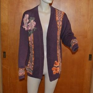 Carole Little Hand Knit Purple Cardigan Size M